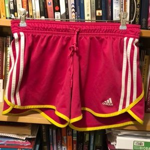 ADIDAS-woman's pink/yellow athletic shorts